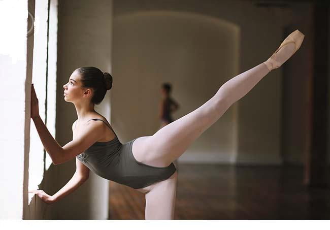 Ballet dancer doing an arabesque